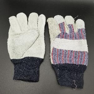 Leather Palm Work Gloves W/Knit Wrist